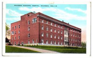 1944 Waukesha Municipal Hospital, Waukesha, WI Postcard