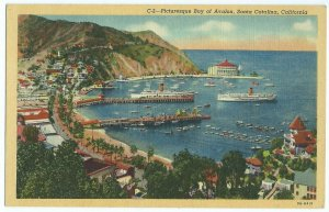 Santa Catalina CA Bay of Avalon Boats Water Roads Cruise Ships Postcard VPC1.
