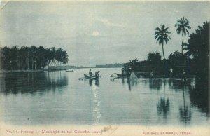 Sri Lanka Ceylon fishing by moonlight on the Colombo lake 1906