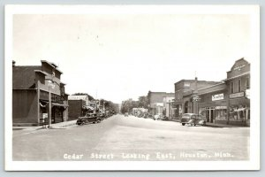Houston Minnesota~Cedar Street~Gambles Store~Dyer Block~Art's Cafe~1930s RPPC