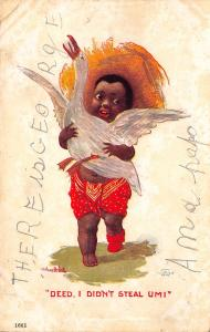 Bernhardt Wall~Black Americana~Boy Holds Goose~Deed, I Didn't Steal Um! 1906