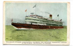 Christopher Columbus Whaleback Steamer Chicago Milwaukee 1907c postcard