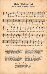 US2142 Mein Herimattal Text u Melodie v Lehrer H. Schmitt song patriotic germany