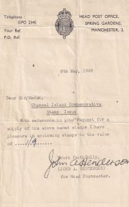 Manchester Spring Gardens Post Office 1948 Receipt