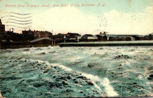 New York Rochester Genesee River In Angry Mood Near Heart Of The City 1909