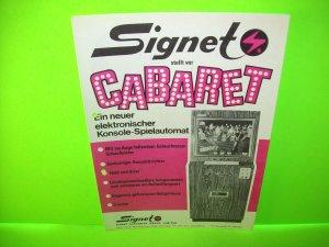 Signet CABARET Original Vintage Slot Machine Promo Sales Flyer Adv. German Text