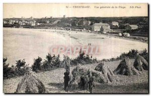 Postcard Old Trestaou General view of the Beach Peasants in the fields