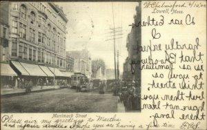 Lowell MA Merrimack St. Used 1904 Postcard - Trolley - FANCY CANCEL