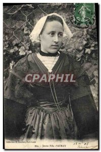 Old Postcard Folklore Young girl d & # 39Auray