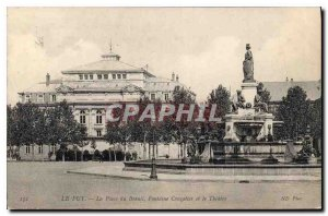 Old Postcard Le Puy du Breuil Square Fountain Crozatier and Theater
