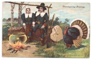 Pilgrim Couple Cook Kettle over Fire Turkey Thanksgiving Postcard P Sander 1908