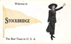 The Best Town in the USA Is Stockbridge Illinois~Lady Welcomes~1913 Pennant PC
