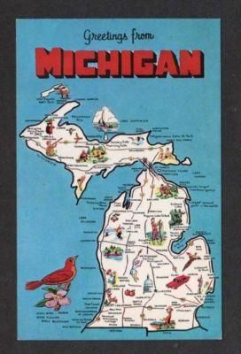 Mi greetings from michigan state map newberry escanaba hippostcard mi greetings from michigan state map newberry escanaba m4hsunfo