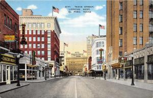 El Paso TX~Texas Street (West)~Emerson Hotel~Belk & Co~Tower Drug Co~Clock~1940s