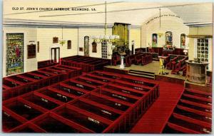 Richmond, Virginia Postcard Old St. John's Church Interior Linen c1940s Unused