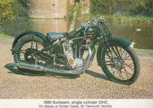 1930 Sunbeam Single Cylinder Motorcycle at Great Yarmouth Postcard