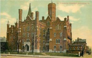 Columbus Ohio~St Vincents Hospital~Wrought Iron Fence~1910 Postcard