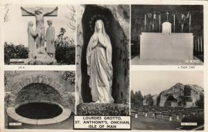 RP: ONCHAN, Isle of Man, 1920-40s; Lourdes Grotto, St. Anthonys, 5-views; TUCK