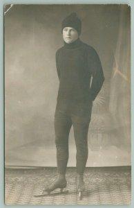RPPC Ice Skater Wears Ski Cap (aka Toboggan) Black Whole Bodysuit~1910 Postcard