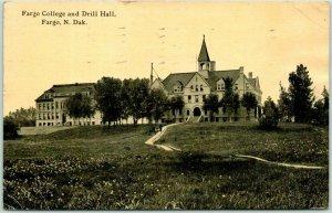 Fargo, North Dakota Postcard FARGO COLLEGE AND DRILL HALL Campus 1912 Cancel