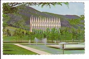 Cadet Chapel with Fountain, US Air Force Academy, Colorado Springs, Colorado,...
