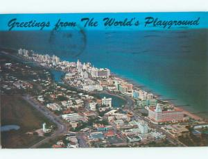 Pre-1980 AERIAL VIEW OF TOWN Miami Beach Florida FL n3049