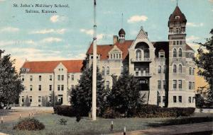 Salina Kansas St Johns Military School Street View Antique Postcard K101812