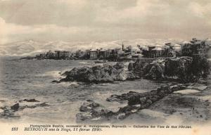 Lebanon Beyrouth Sous la Nesge 1920 Sea Panorama Postcard