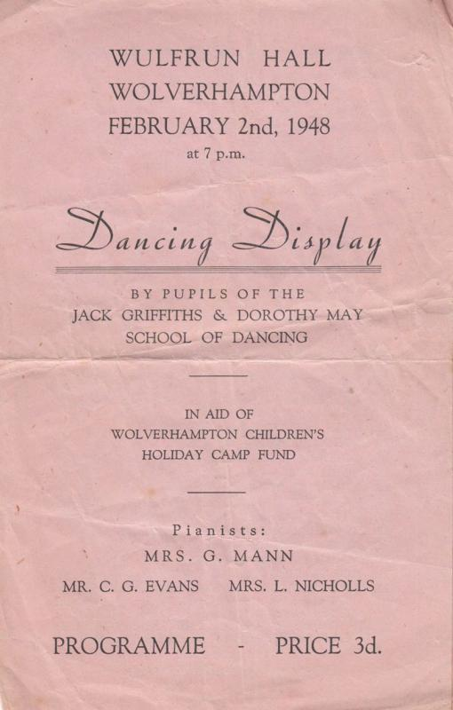 Wulfrun Hall Wolverhampton Post War 1948 School Dancing Dance Theatre Programme