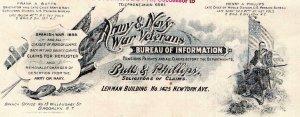 1908 ARMY & NAVY WAR VETERANS*BUTTS & PHILLIPS*LETTERHEAD & COVER*WASHINGTON DC