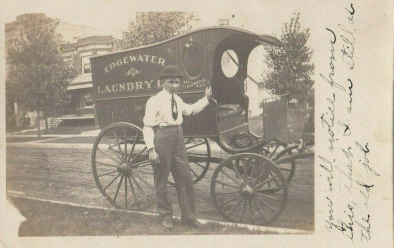 RP: CHICAGO , Illinois, 1911 ; Edgewater Laundry Wagon
