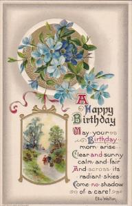 Embossed Birthday Beautiful Flowers 1911 Winsch