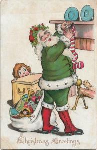 Green Santa Claus Christmas Vintage postcard Embossed 01.87