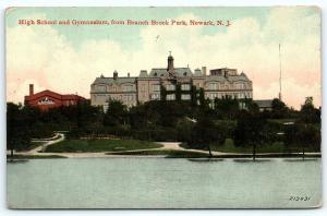 Postcard NJ Newark 1912 High School & Gymnasium from Branch Brook Park B7