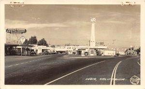F56/ Indio California Postcard RPPC c1940s Gas Station Restaurant