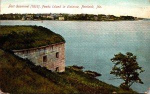 Maine Portland Fort Scammel Peaks Island In Distance