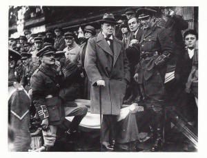 Winston Churchill In Lille 1918 March Parade WW1 Victory Postcard