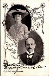 Early Wedding postcard Alice Roosevelt & Nicholas Longworth c 1904 UNPOSTED