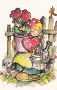 AS: Bonnie, Little Girl Carrying a Flower Pot, Box of Chocolates in a Shape o...