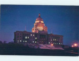Unused Pre-1980 STATE HOUSE NIGHT VIEW Providence Rhode Island RI hn3468-12
