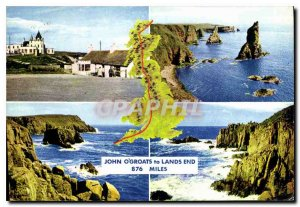 Modern Postcard John o'Groats to Lands End 876 miles