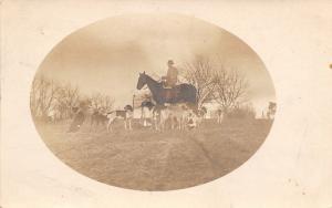 Fox Hunter Man On Horse~Hound Dogs~Horn~Farm Barns~Vignette~c1912 RPPC