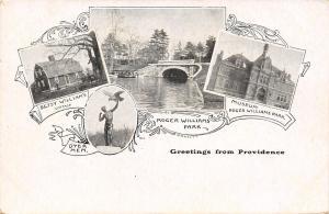 Providence Rhode Island~Four Mini City Scenes~1906 B&W Art Nouveau Postcard