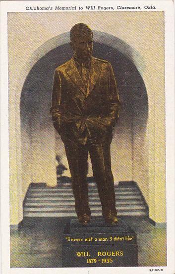 Will Rogers Statue Memorial Claremore Oklahoma Curteich