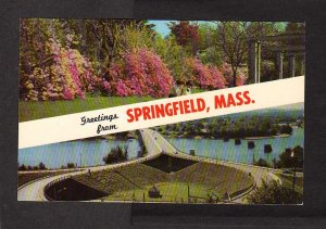 MA Greetings from SPRINGFIELD MASSACHUSETTS Forest Park Bridge  Mass Postcard PC