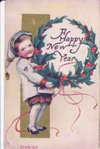 NEW YEAR; A Happy New Year, Girl holding wreath, gold detail, 00-10s
