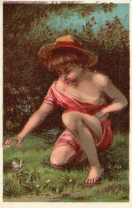1880s-90s Boy & Butterfly James Pyle's Pearline Washing Compound Trade Card