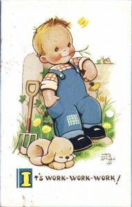 Artist Signed Mabel Lucie Attwell No. 5939, It's Work, Work, Work!