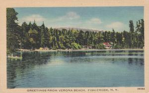Greetings from Verona Beach - Fish Creek NY New York pm 1945