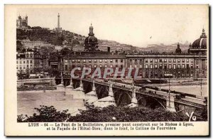 Lyon - The Bridge of the Guillotiere - first bridge over the Rhone - Old Post...